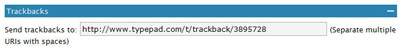 Example of Trackback box in WordPress 2.0