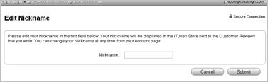 Add a nickname to iTunes