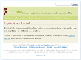 OptiNiche registration page